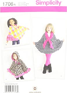 Simplicity 1706 Child's Fleece Cape Sewing Patterns, Sizes S-L