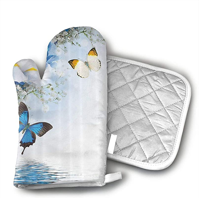 HiHMJ Resort Spa Home Decor Blue White Wild Flowers Monarch Yellow Butterflies Oven Mitts Cotton Quilting Lining Oven Gloves And Pot Holders Kitchen Set For BBQ Cooking Baking Grilling Barbecue