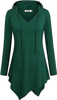 Tencole Uneven Hemline Hoody Shirt Kangaroo Pocket Tunic Long Sleeve Casual Tops