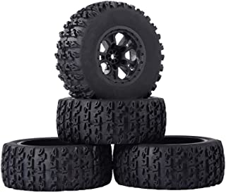 RCStation RC Short Course Truck Tires 1/10 Scale, High-Performance Pre-glued RC Wheel Rim and Tires Set 12mm Hex with Foam...