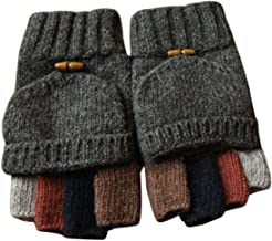 Adorrable Men's Wool Glove Mitten Fingerless Crochet Convertible Knitted Gloves
