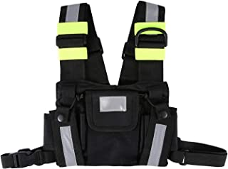 Front & back Reflective Double Chest Pocket Pack radio harness chest Rig Bag Holster Vest for Two Way Radio Rescue Essentials