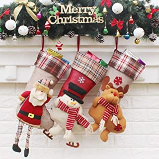 Christmas Socks Gift Bags Decorated Decorations Christmas Ornaments Christmas Supplies New,Durability (Color : Three-Piece Suit, Size : 21.5 * 50.5 * 24cm)