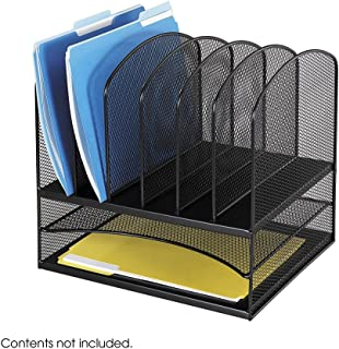 Safco® OnyxTM Mesh Desk Organizer with Two Horizontal/Six Upright Sections Organizer,2 HOR,6 VRT,BK (Pack of2)
