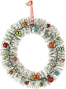 Vintage Bottle Brush Wreath by Northwoods | Multi-Colored with Ornaments | Festive Holiday Décor | Nostalgic Theme | Lightweight | Indoor/Outdoor Various Use | 14 inch Diameter