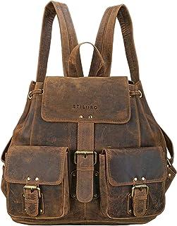 """STILORD Larissa"""" Vintage Rucksack Leder Damen Rucksackhandtasche Lederrucksack Handtasche DIN A4 City Shopping Daypack Schule Uni, Farbe:mittel - braun"""