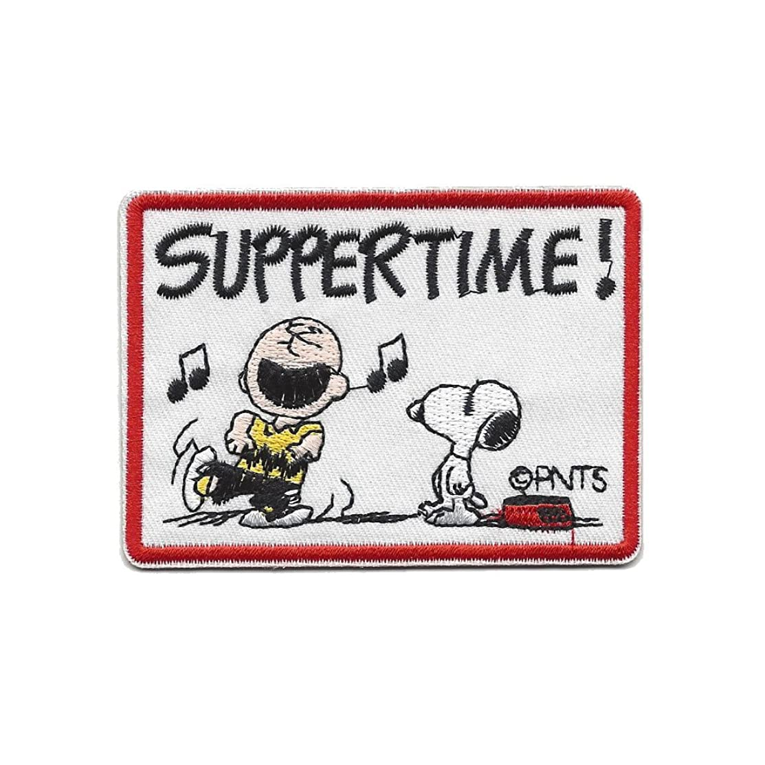 Peanuts Suppertime Iron On Patch Fabric Applique Motif Decal 3.3 x 2.4 inches (8.5 x 6.5 cm)