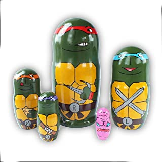 Collectible Nesting Dolls Ninja Turtles Matryoshka Russian Doll Signed Hand-Painted
