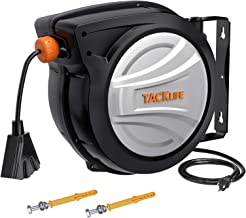 TACKLIFE Retractable Extension Cord, 65FT+4.5FT Electric Cord Reel, 12AWG, 3C SJTOW, 180°Swivel Ceiling or Mounting Metal ...