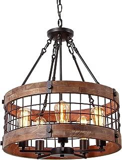 Anmytek C0019 Round Wooden Chandelier Metal Pendant Five Decorative Lighting Fixture Antique Ceiling Lamp