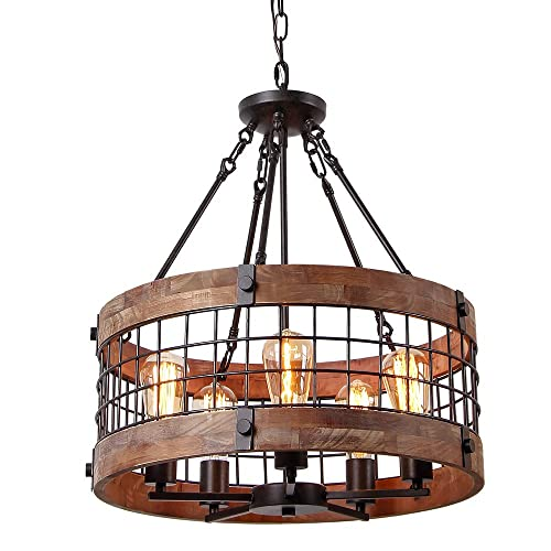 Anmytek Round Wooden Chandelier Metal Pendant Five Lights Decorative Lighting Fixture Antique Ceiling Lamp