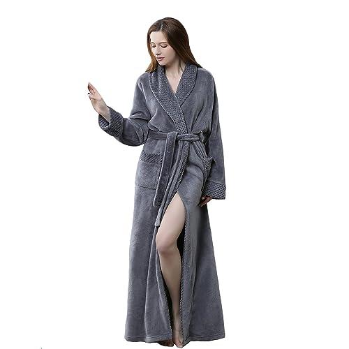 1ad0253811437 BELLOO Ladies Winter Flannel Dressing Gown Fleece Bathrobe Full Length  Loungewear