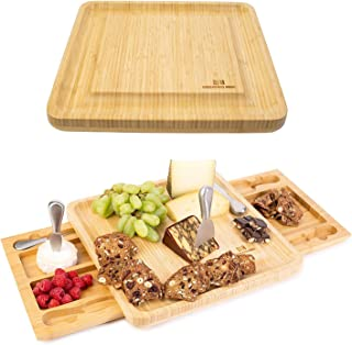 Cheese Board Set - Stainless Steel Cheese Knife Two Serving Trays as Part of The charcuterie Board Set Perfect as House Wa...
