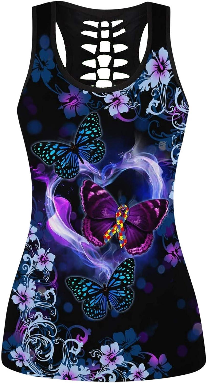 Hotkey Tank Tops for Women, Sleeveless Camisole Tie Dye Love Heart Print Top Vest Racerback Yoga Tanks Athletic Activewear