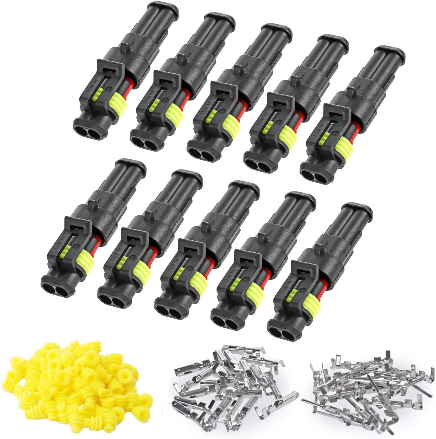 Deluxe ZUOZE 10 Many popular brands Kit 2 Pin Connector 20-16 Electrical AWG Au Waterproof
