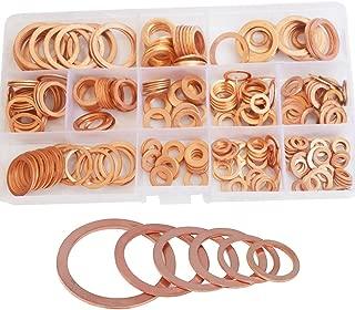 Flat Round Copper Washer Countersunk Metric Sealing Gasket Ring Metal Standard Hardware Tool Fastener M5 M6 M8 M10 M12 M14 M16 M20 Assortment Kit Set Assorted SAE 280pcs