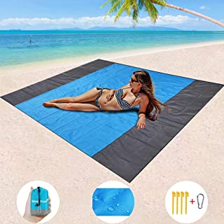 Mumu Sugar Sand Free Beach Blanket, Extra Large Waterproof Beach Mat-Lightweight Quick Drying Heat Resistant Outdoor Picnic mat for Travel, Camping, Hiking and Music Festivals(82� X79�)