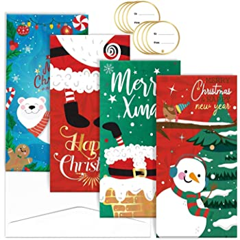 Amazon Com 24 Christmas Card Gift Holder Christmas Money Holder Christmas Greeting Cards With Envelopes Bulk Assorted In 3 Holiday Cute Festive Designs With Glitter And Foil Winter Holiday Cards