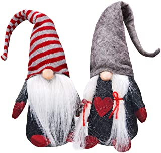 Ivenf Christmas Decorations Gift Birthday Present, 2 Pack Handmade Plush Tomte Gnome Swedish Scandinavian Santa, Holiday Home Table Decor Ornaments