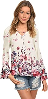 Women Ivory Floral Peasant Bohemian Casual Long Sleeve Blouse Tunic