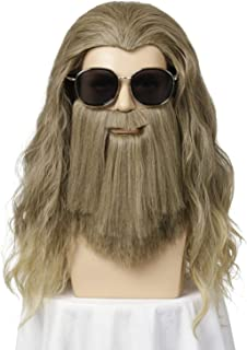 Qaccf Long Curly Golden Brown Wig and Mustache Costume Halloween Mens Fat Thor Wig