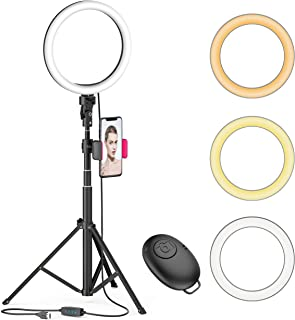 "8"" LED Selfie Ring Light for Live Stream/Makeup/YouTube Video, Dimmable Beauty Ringlight with Tripod Stand and Phone Holde..."