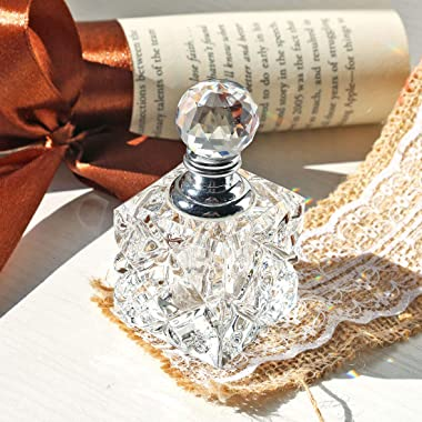 Clear Cubic Carved Decor Refillable Perfume Bottle