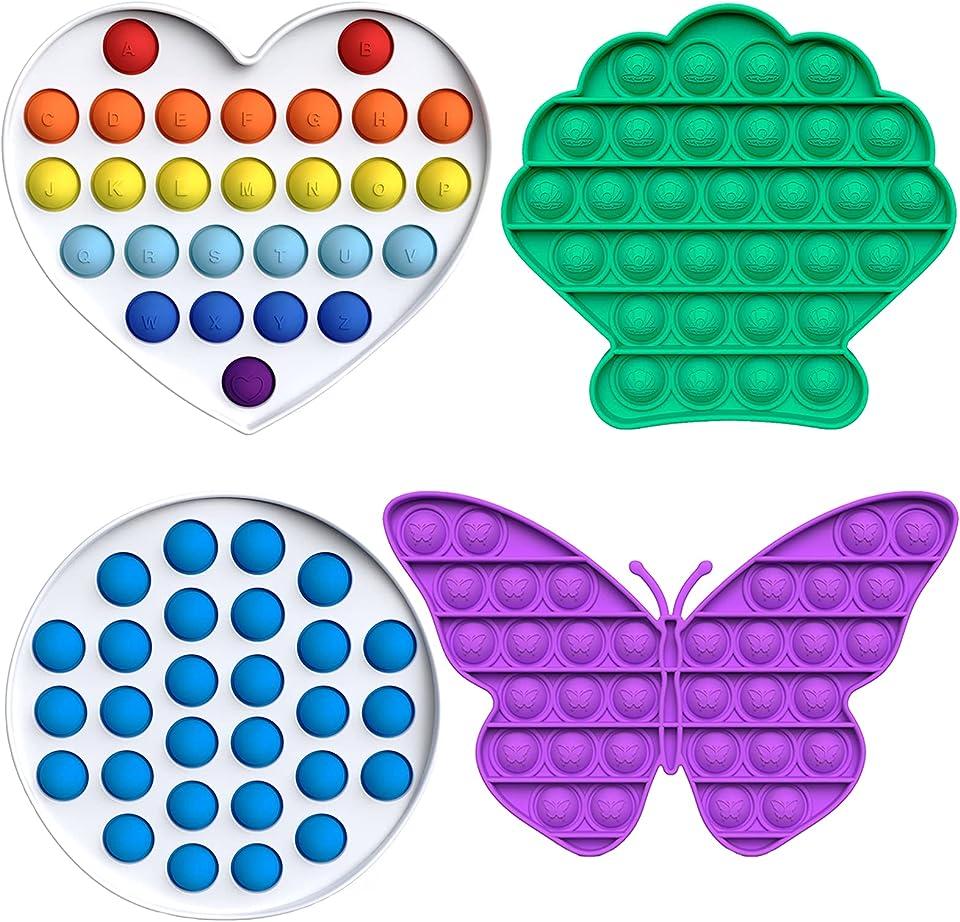 Atuful Fidget Toy Set Anti Stress Pop It Fidget Toys Squeeze Toys Relief Stressabbau& Autismus für Erwachsene und Kinder Push Pop Pop Bubble(Schmetterling)