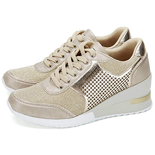 0af152e3eab High Heeld Wedge Sneakers for Women - Ladies Hidden Sneakers Lace Up Shoes