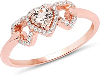 14K Rose Gold Morganite and White Diamond Ring (0.37 cttw, I-J Color, I2-I3 Clarity) from Johareez
