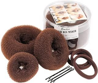 Smilco Fast Hair Bun Maker Donut Bun Ring Styler Maker 3 Pieces(1 Small 1 Medium 1 Large) (Brown)