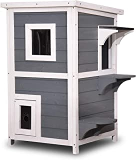 Lovupet 2-Story Weatherproof Wooden Outdoor/Indoor Cat Shelter House Condo with Escape Door 0508