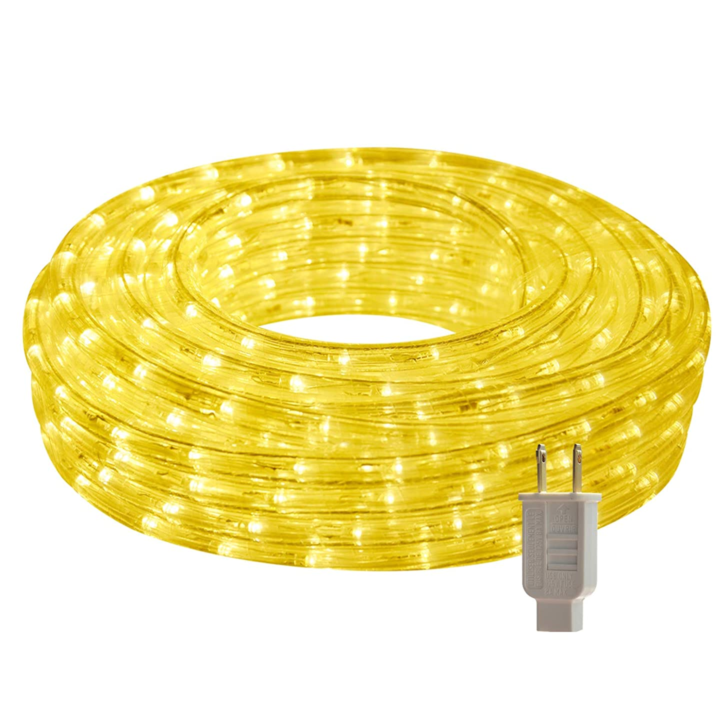 LED Rope Lights, 26.3ft Flat Flexible Light Strip, 3000K Warm White, Water Resistant for Both Indoor/Outdoor Use, Inter-Connectable, UL Certified, Decorative Lighting for Any Location.