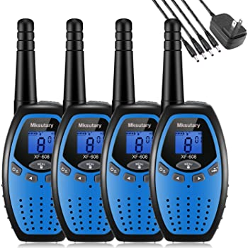 Walkie Talkies 4 Pack, Walkie Talkie for Kids Rechargeable 2 Way Radios, Long Range Walkie Talkies 4 Pack, 22 Channels Handheld Transceiver with DC Charger for Kids Adults Cruise Biking Hiking