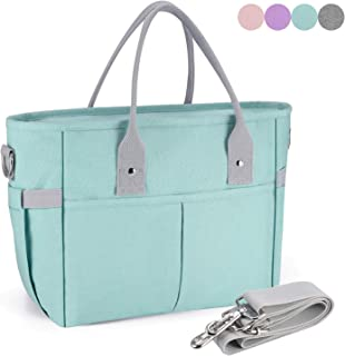 Insulated Lunch Bag Stylish Reusable Meal Prep Cooler Large Tote KIPBELIF Lunch Box for Women with Shoulder Strap, Side Pockets with Zipper Napkin Opening and Water Bottle Holder-Aqua Green