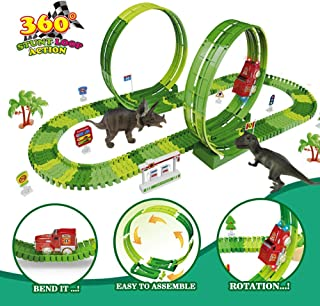 kindersee Dinosaur Toys Race Track 156pcs Race Car Track Create A Road Flexible Dinosaur Toys for Kids Boys Girls Age 3 4 5 6 7 8