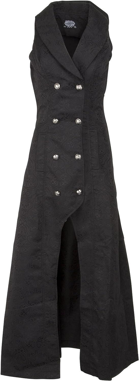 Womens Black Victorian Steampunk Gothic Sleeveless Coat Jacket