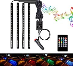 BRTLX Interior Car Lights 3.94ft LED Multicolor Atmosphere Underdash Lighting Kit 4pcs 72 LEDs with Sound Active Function Wireless Remote Control Car Charger Included Universal Fitment