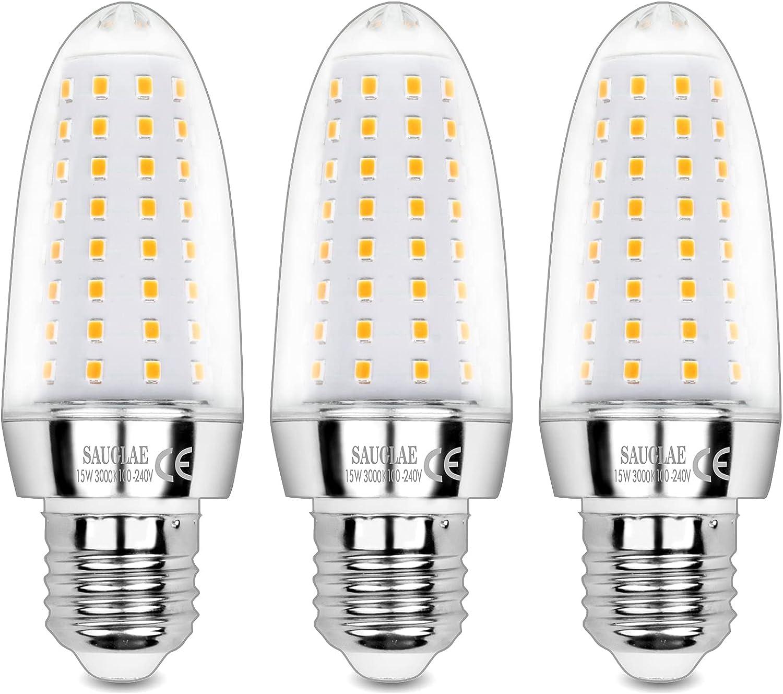 Sauglae Bombillas LED de 15W, Bombillas Incandescentes Equivalente de 120W, Blanco Cálido de 3000K, 1500 lm, Bombillas de Tornillo Edison E27, 3 Piezas