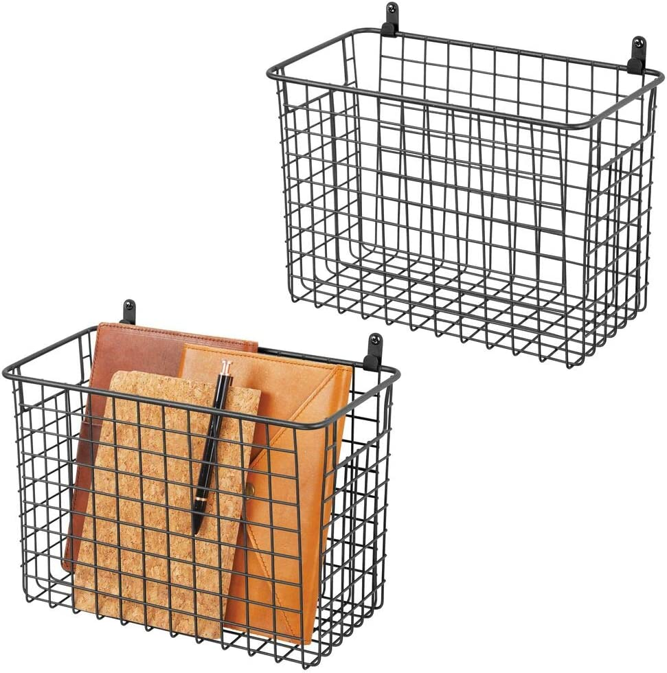 mDesign Portable Metal Farmhouse Wall Decor Storage Organizer Basket Bin with Handles for Hanging in Entryway, Mudroom, Bedroom, Bathroom, Laundry Room - Wall Mount Hooks Included, 2 Pack - Black