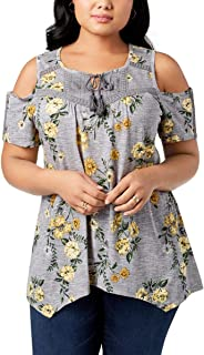 Plus Size Printed Crochet-Trim Cold-Shoulder Peasant Top