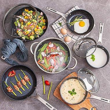 Pots and Pans Set, Nonstick Cookware Sets 10pcs, Chemical-Free Kitchen Cooking Sets, Saucepan, Frying Pan, Skillet, Saute Pan