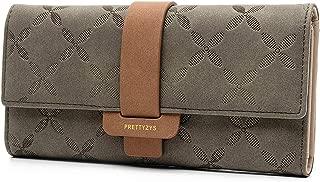 JOSEKO Long Wallet for Women Zipper Buckle Elegant PU Leather Wallet Purse Credit Card Holders Money Organizer Clutch Handbag