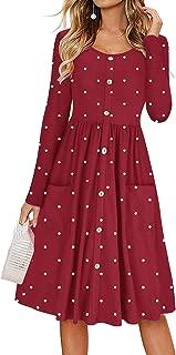 ANAKIKI Women Long Sleeve Button Pleated Polka Dot Pocket Swing Casual Midi Dress