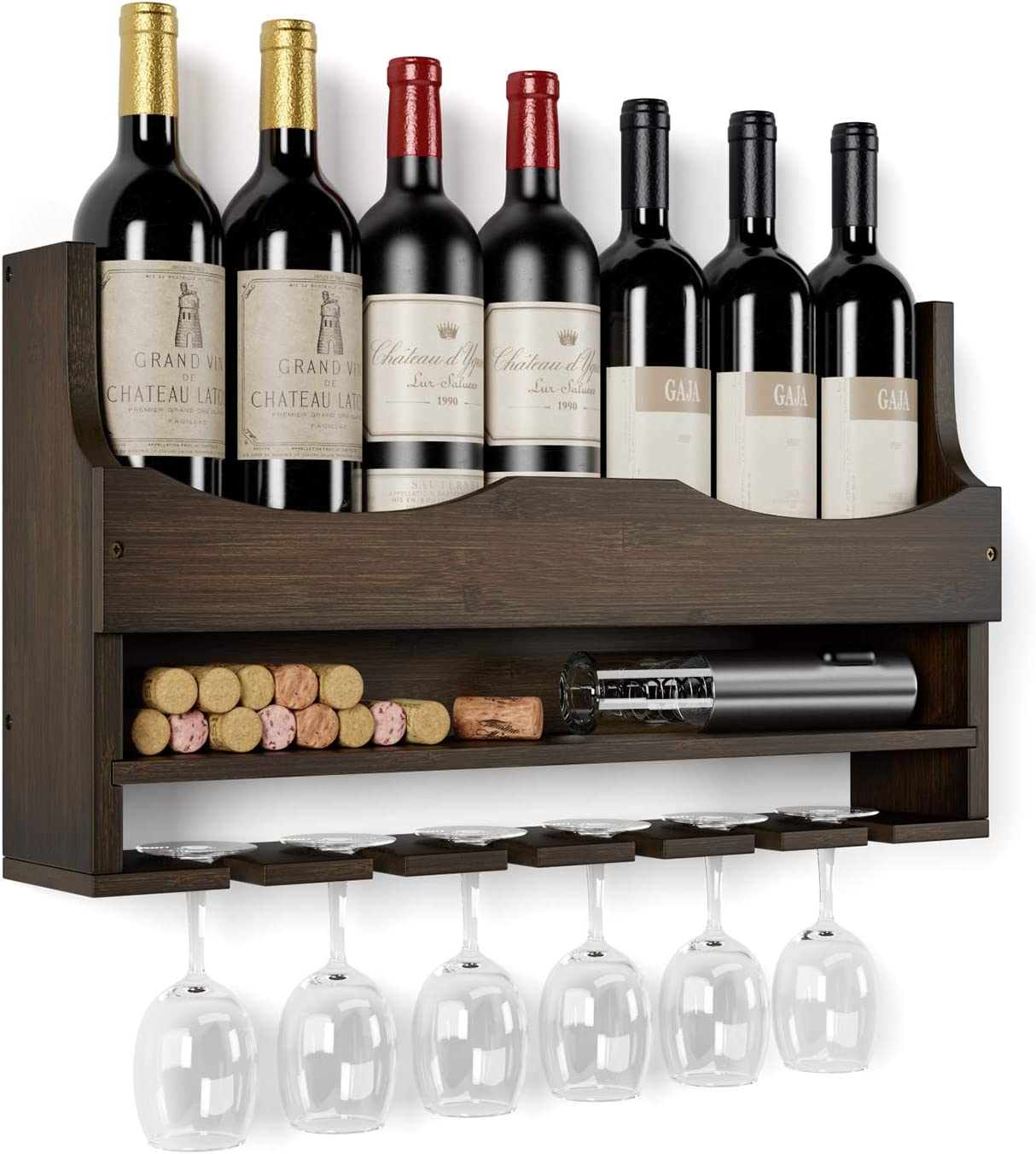 HOMECHO Wall Mounted Wine Rack Bamboo Wine Bottles Holder with Hanging Stemware Glasses Set and Wine Cork Storage, Home Kitchen Decor, Espresso