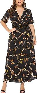 Eternatastic Womens Chain Printed Wrap Dress Plus Size Short Sleeve 5XL Black