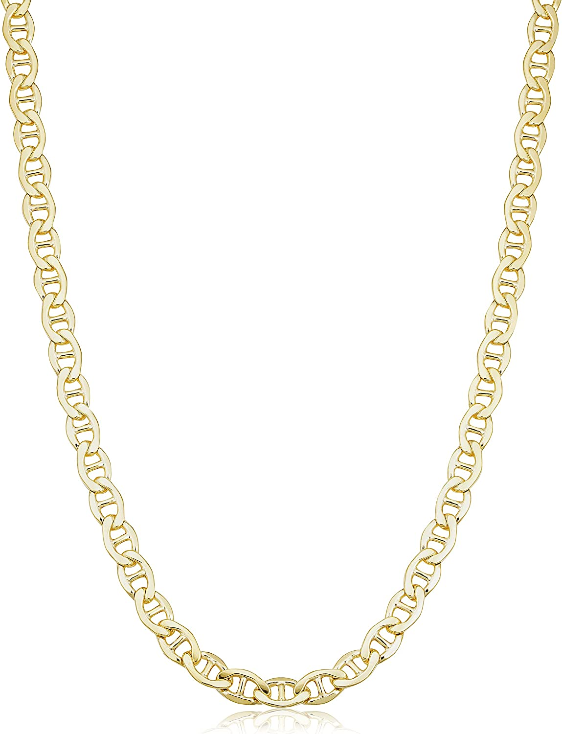 Solid 14k Yellow Gold Filled Mariner Link Chain Necklace for Men and Women (3.3 mm, 4 mm, 5 mm, 5.8 mm or 7.8 mm)