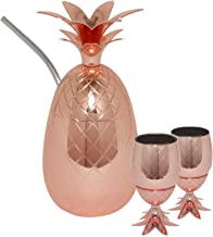 Silver One Stainless Steel 3 Piece- 17oz Pineapple Copper-Finish Cocktail Mug w Straw & 2 Pineapple Shot Cups