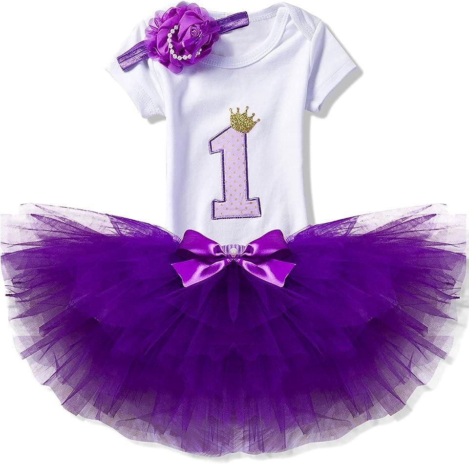 Baby Mädchen Neugeborenes 1 Geburtstag Tütü Rock Prinzessin Kleid Kurzarm Strampler Top und Ohr Stirnband Outfits 3PCS Kleidung Kleinkinder