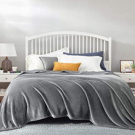 BEDSURE Plaid Polaire Grande Taille - Couverture Polaire Gris 230x270, Couvre Lit 2 Personnes, Plaid Canapé Flanelle Doux et Chaude